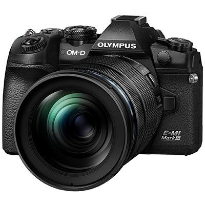Olympus OM-D E-M1 Mark III Digital Camera with 12-100mm PRO Lens - front view