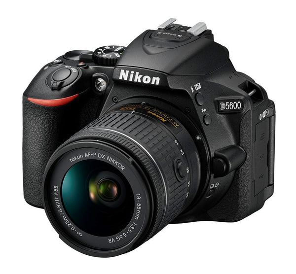 Nikon D5600 Camera & 18-55mm AF-P VR Lens - tilted view