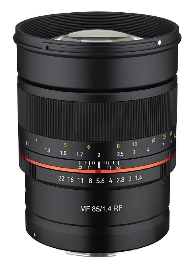 Samyang MF 85mm F1.4 Lens for CANON RF - upright side view