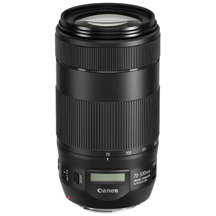 CANON EF 70-300MM F/4-5.6 IS II USM TELEPHOTO ZOOM LENS - upright side and lens view