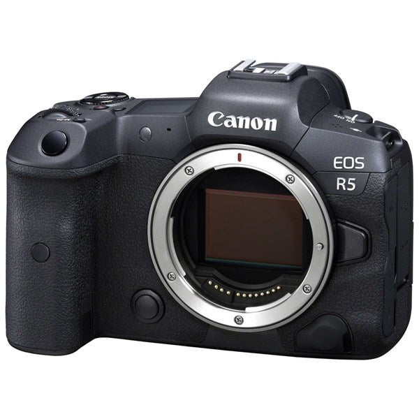 CANON EOS R5 MIRRORLESS DIGITAL CAMERA BODY - side front view