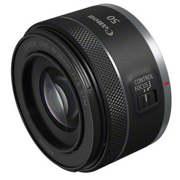 Canon RF 50mm f1.8 STM Lens - side and front view