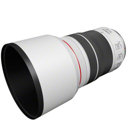 Canon RF 70-200mm F4L IS USM lens side view with lens hood