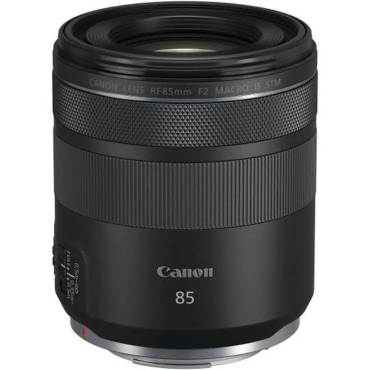 Canon RF 85mm f2 IS Macro STM Lens - upright view
