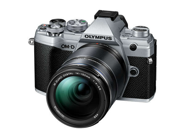 OLYMPUS OM-D E-M5 MARK III Digital Camera with 14-150mm lens - black and silver - front view