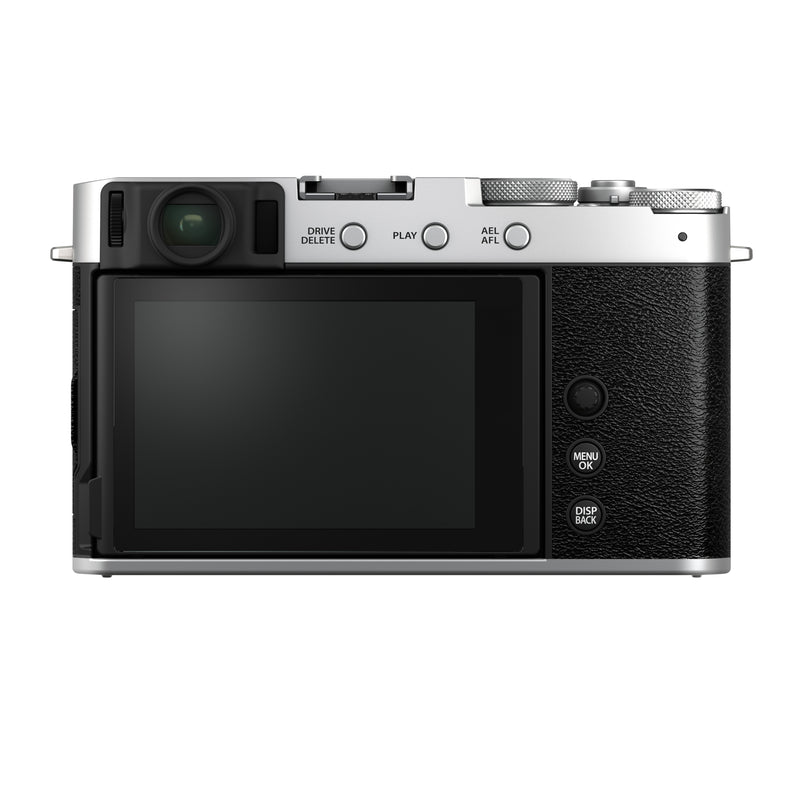 Fujifilm X-E4 Mirrorless Camera Body - back view in black and silver