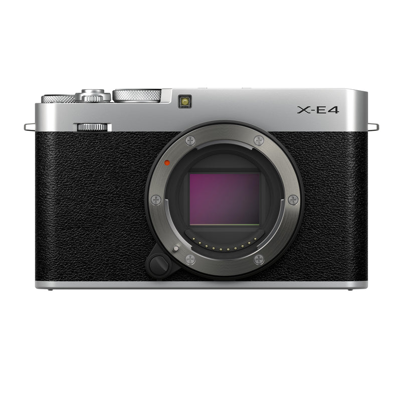 Fujifilm X-E4 Mirrorless Camera Body in black and silver - front view