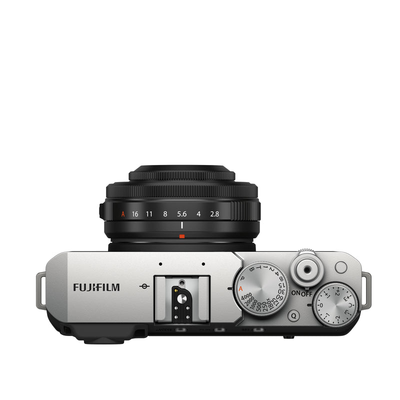Fujifilm X-E4 Camera in black and silver with lens - top view