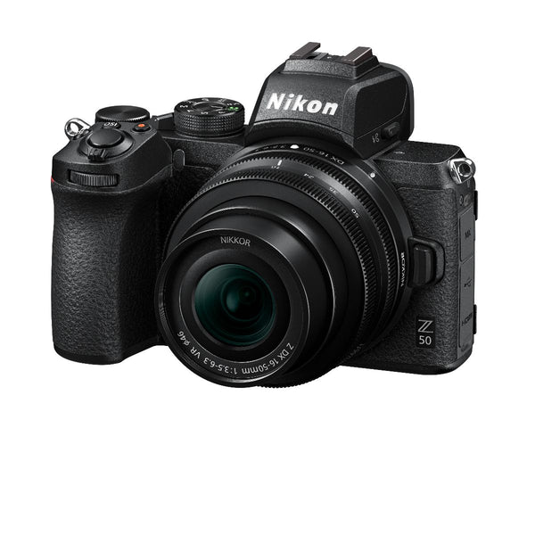 Nikon Z50 camera 16-50mm lens  - tilted front view