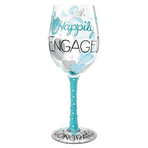 Enesco Lolita Lolita by Enesco Happily Engaged Wine Glass - DimpzBazaar.com