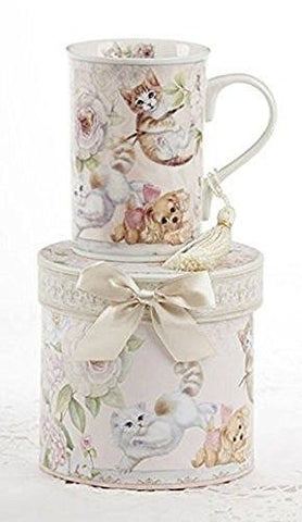 Delton Delton Products Porcelain Tea Mug, Kittens and Puppy Pattern, Arrives in Matching Keepsake Box - DimpzBazaar.com