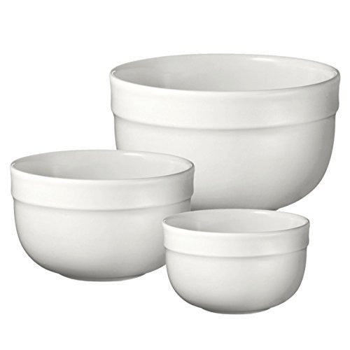 Emile Henry Emile Henry 116529/3 Made In France Deep Mixing Bowl (Set of 3), Flour White - DimpzBazaar.com