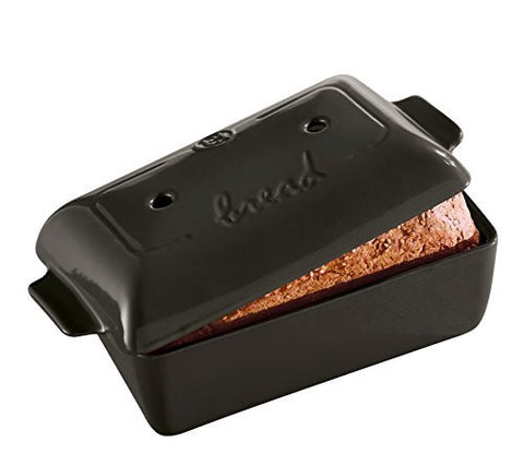 "Emile Henry Emile Henry Made In France Flame Bread Loaf Baker, 9.4 x 5"", Charcoal - DimpzBazaar.com"