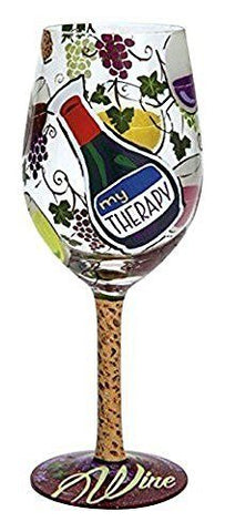 Enesco Lolita Enesco Presents My Therapy Wine Glass, Multicolor - DimpzBazaar.com