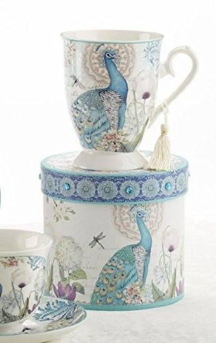 Delton Delton Products Peacock Porcelain Tea and Coffee Mug in Gift Box - DimpzBazaar.com