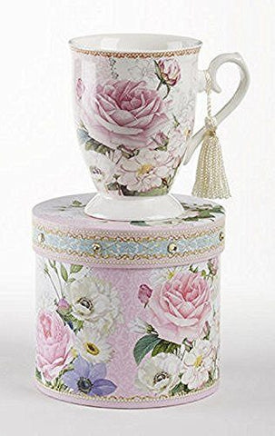 Delton Delton Products Pink Rose Floral Porcelain Mug in Matching Keepsake Box - DimpzBazaar.com