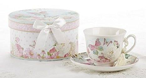 Delton Delton Products Porcelain Tea Cup and Saucer with Gift Box, Butterfly - DimpzBazaar.com