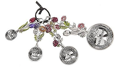 Ganz Ganz 4-Piece Measuring Spoons Set - Colorful Flower Bouquet - DimpzBazaar.com