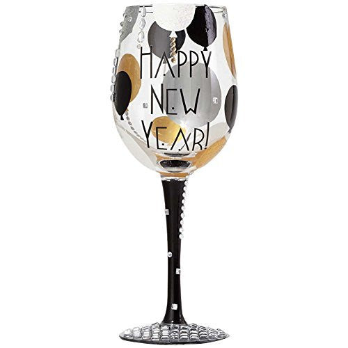 Enesco Lolita Lolita Blinging New Year Wine Glass - Mouth Blown, Hand Painted & Jeweled - DimpzBazaar.com