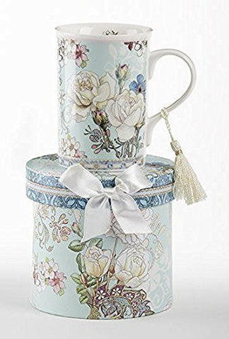 "Delton Delton Products Blue Camellia Porcelain Tea/Coffee Mug in Gift Box, 4.3"" - DimpzBazaar.com"