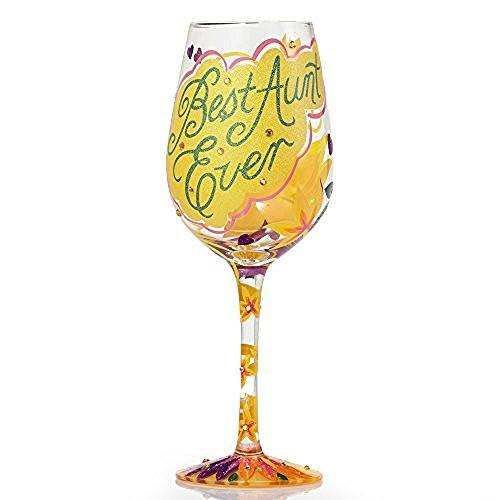 "Enesco Lolita Lolita from Enesco Best Aunt Ever Wine Glass, 9"", Multicolor - DimpzBazaar.com"