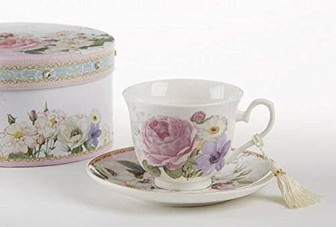 Delton Delton Products Porcelain Adult Size Cup & Saucer with Matching Keepsake Box, Pink/Rose - DimpzBazaar.com