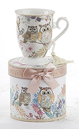 Delton Porcelain Tea / Coffee Mug in Matching Decoraive Box, Owls - DimpzBazaar.com