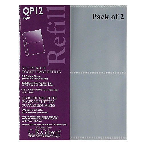 C.R. Gibson C.R. Gibson QP-12 Small Recipe Book Pocket Page Refill 20 Sheets (Pack of 2) ... - DimpzBazaar.com