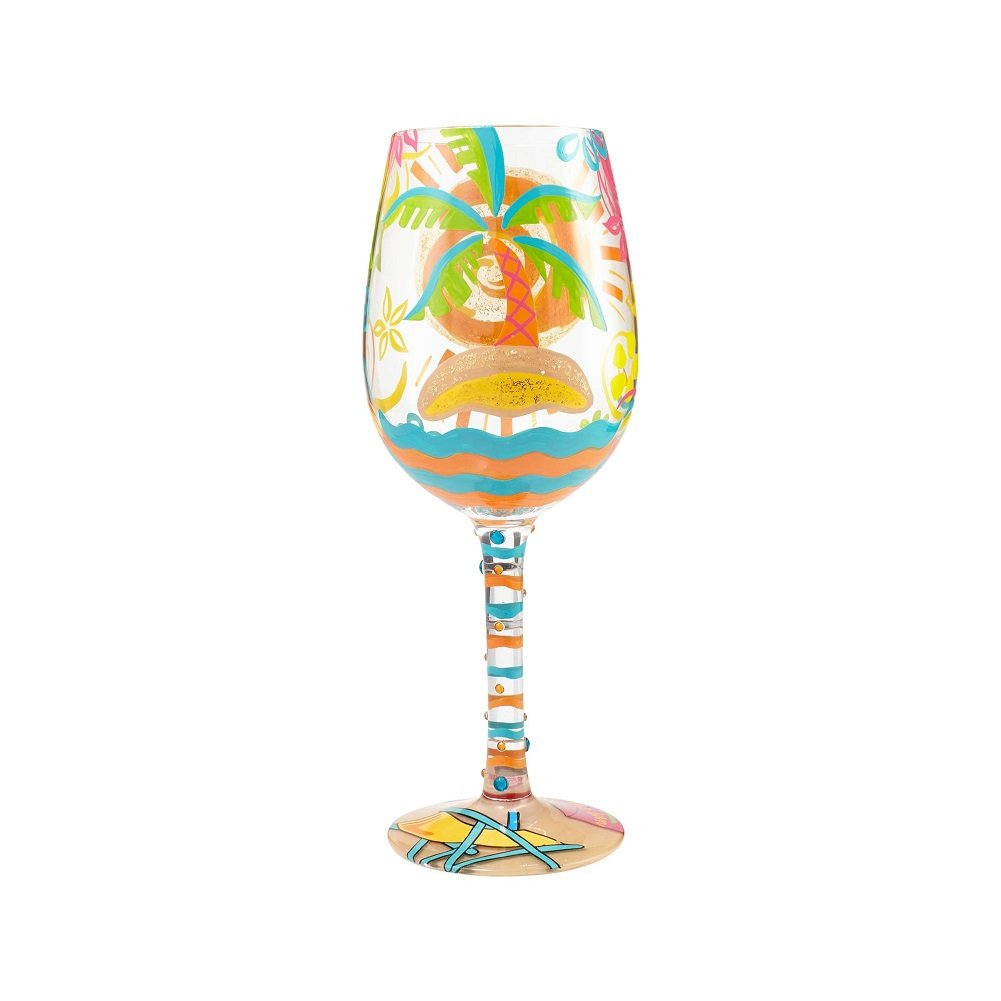 "Enesco Enesco 6000021 Designs by Lolita ""Here Comes Summer"" Wine Glass, 15 oz, Multicolor - DimpzBazaar.com"