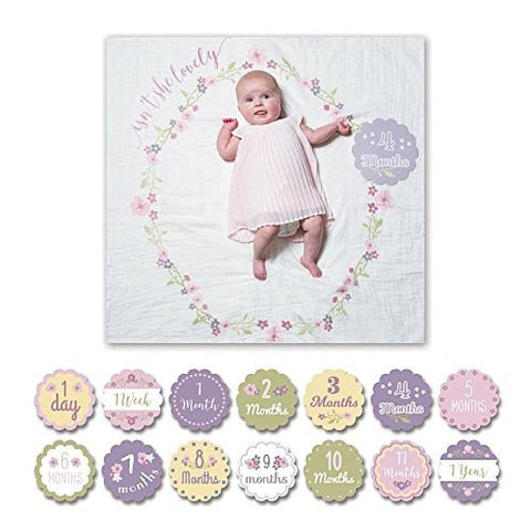 Mary Meyer lulujo Baby Baby's First Year Milestone Blanket and Cards Set, Loved Beyond Measure - DimpzBazaar.com