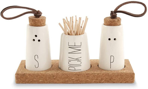Mud Pie MUD PIE SALT, PEPPER & TOOTHPICK HOLDER SET - DimpzBazaar.com