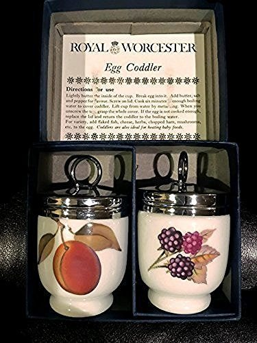 Royal Worcester Royal Worcester Egg Coddler Pair Evesham Pattern Peach and Berries Fruit - DimpzBazaar.com