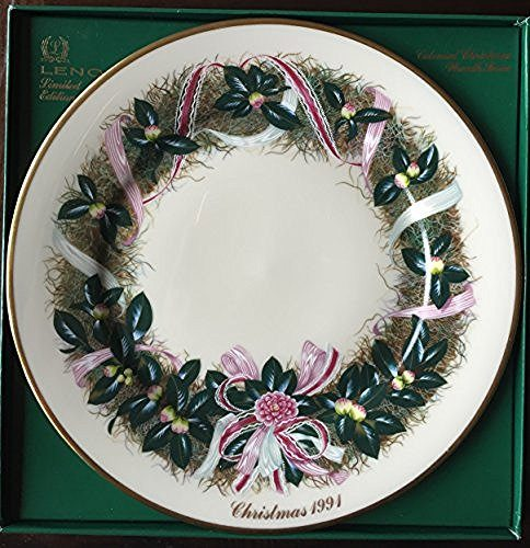 Lenox Lenox 1991 Colonial Christmas Wreath Plate, South Carolina, The Eleventh Colony - DimpzBazaar.com