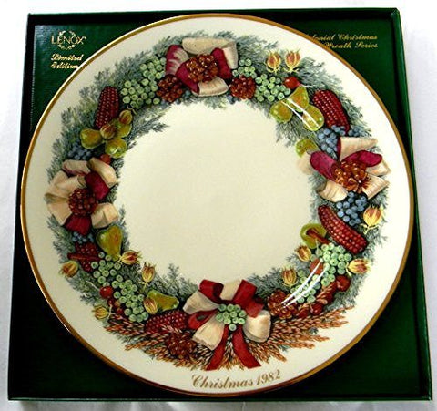 Lenox Lenox 1982 Colonial Christmas Wreath Plate Massachusetts the Second Colony - DimpzBazaar.com
