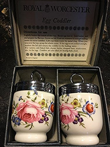 Royal Worcester Royal Worcester Egg Coddler Pair Bournemouth Pattern Pink Roses Floral-Rare - DimpzBazaar.com