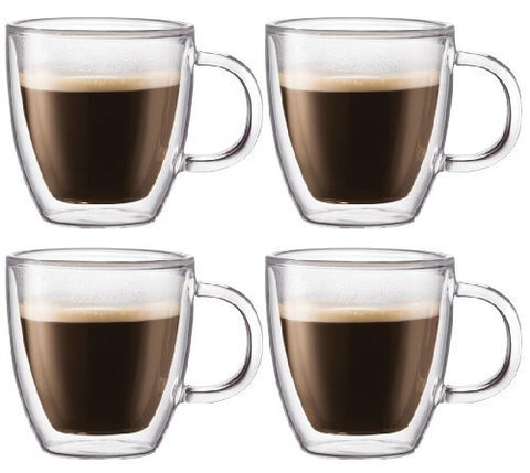 Bodum Bodum Bistro Double-wall Insulated 10-ounce Glass Mug - (Set of 4) - DimpzBazaar.com