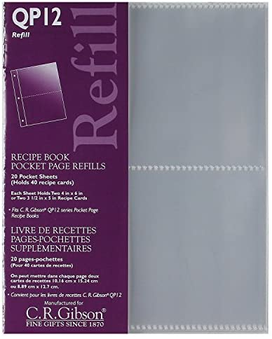 C.R. Gibson CR Gibson QP-12 Small Recipe Book Pocket Page Refill 20 sheets - DimpzBazaar.com