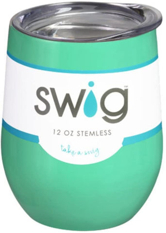 Dimpz Bazaar 12 Ounce Swig Double-Walled Vacuum Insulated Wine Tumbler, Mint - DimpzBazaar.com