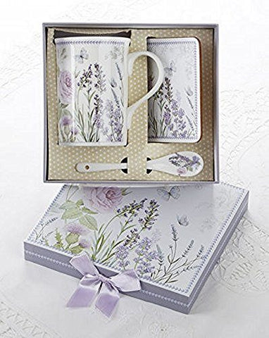 Delton Porcelain Mug, Coaster and Spoon Set, Lavender and Roses- Matching Gift Box - DimpzBazaar.com