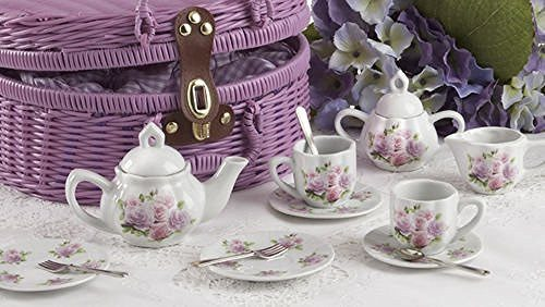Delton Delton Products Rose Pattern 1X Child Size Pretty Little Tea Set for Two in Basket, Pink - DimpzBazaar.com