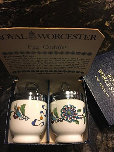 Royal Worcester Royal Worcester Egg Coddler Pair - Palmyra Pattern - Blue/Teal/Red Floral-Rare and Beautiful - DimpzBazaar.com