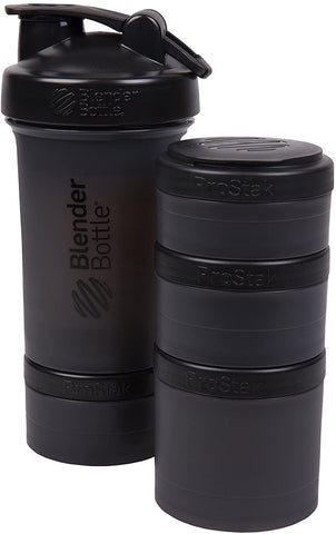 BlenderBottle SCS Direct BlenderBottle ProStak 22 Oz Bottle with 6 Piece Twist n' Lock Storage Set, Black - DimpzBazaar.com
