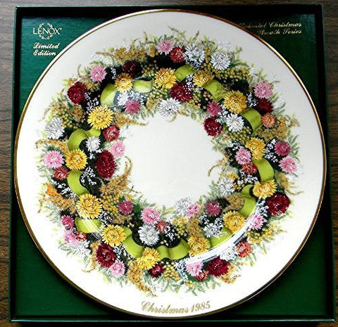 "Lenox LENOX PLATE 10-3/4"" 1985 COLONIAL CHRISTMAS WREATH CONNECTICUT, THE 5TH COLONY - DimpzBazaar.com"
