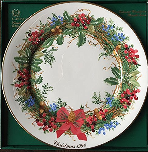 Lenox Lenox 1990 Colonial Christmas Wreath Plate, New Jersey, The Tenth Colony - DimpzBazaar.com