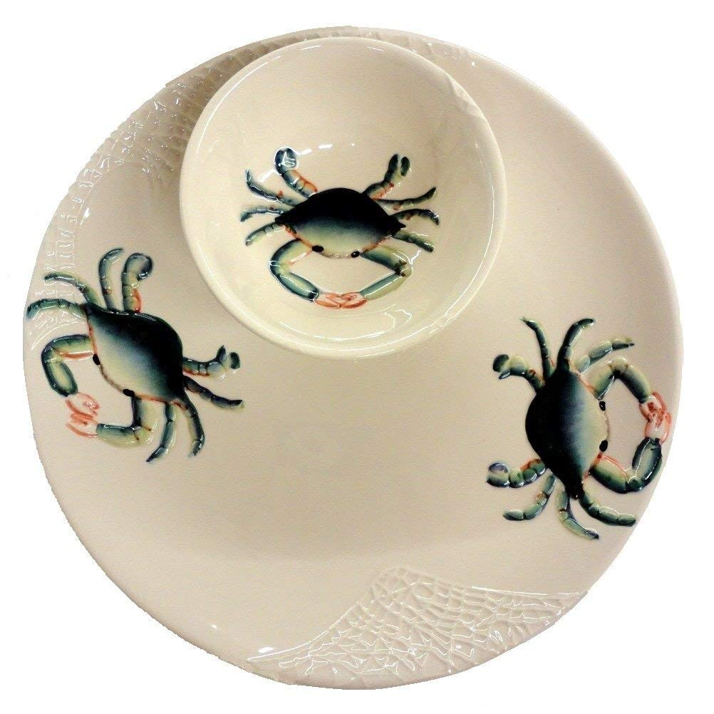 Beachcombers Beachcombers Coastal Blue Crab Design Ceramic Round Chip and Dip,white, BLue - DimpzBazaar.com