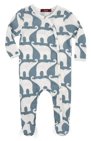 MilkBarn MilkBarn Organic Cotton Long Sleeve Footed Romper Blue Elephant - DimpzBazaar.com