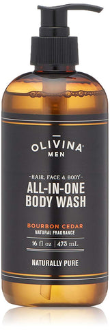 Olivina Men Olivina Men All-in-One Body Wash for hair, face and body - Bourbon Cedar 16 fl. oz - DimpzBazaar.com