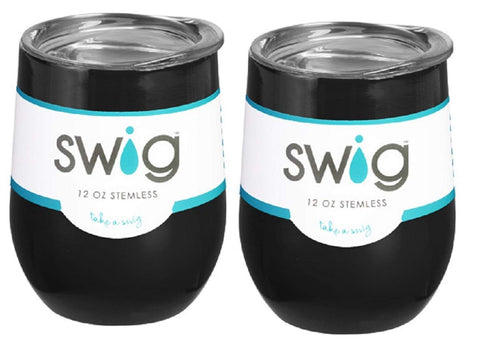 SWIG Occasionally Made O-SW-9-BK Swig Wine Cup, 12 oz, (Black (Pack of 2)) - DimpzBazaar.com