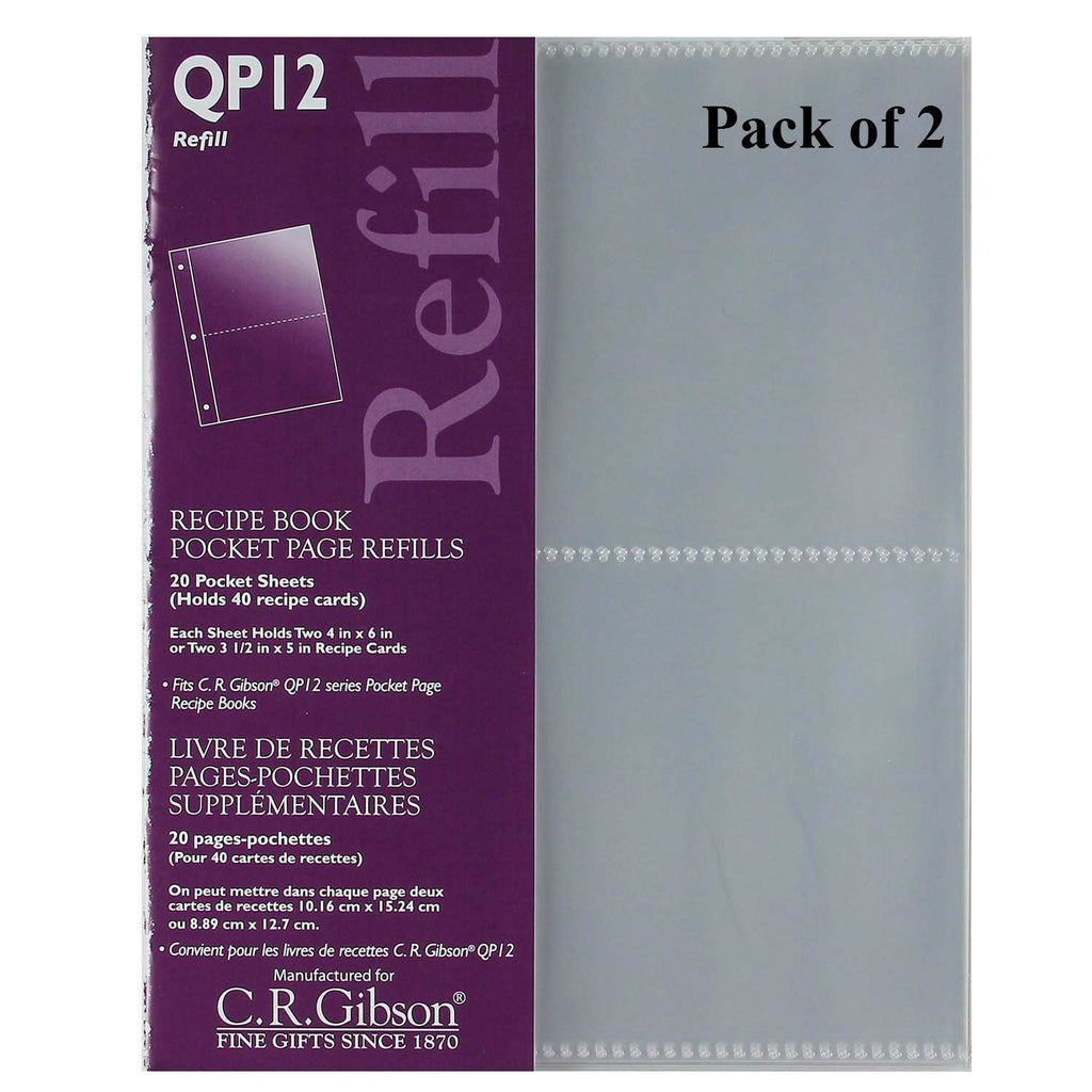 Sun Island Ventures C.R. Gibson QP-12 Small Recipe Book Pocket Page Refill 20 Sheets (Pack of 2) ... - DimpzBazaar.com
