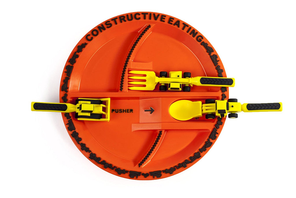 Constructive Eating Constructive Eating - Construction Utensil Set with Construction Plate - DimpzBazaar.com